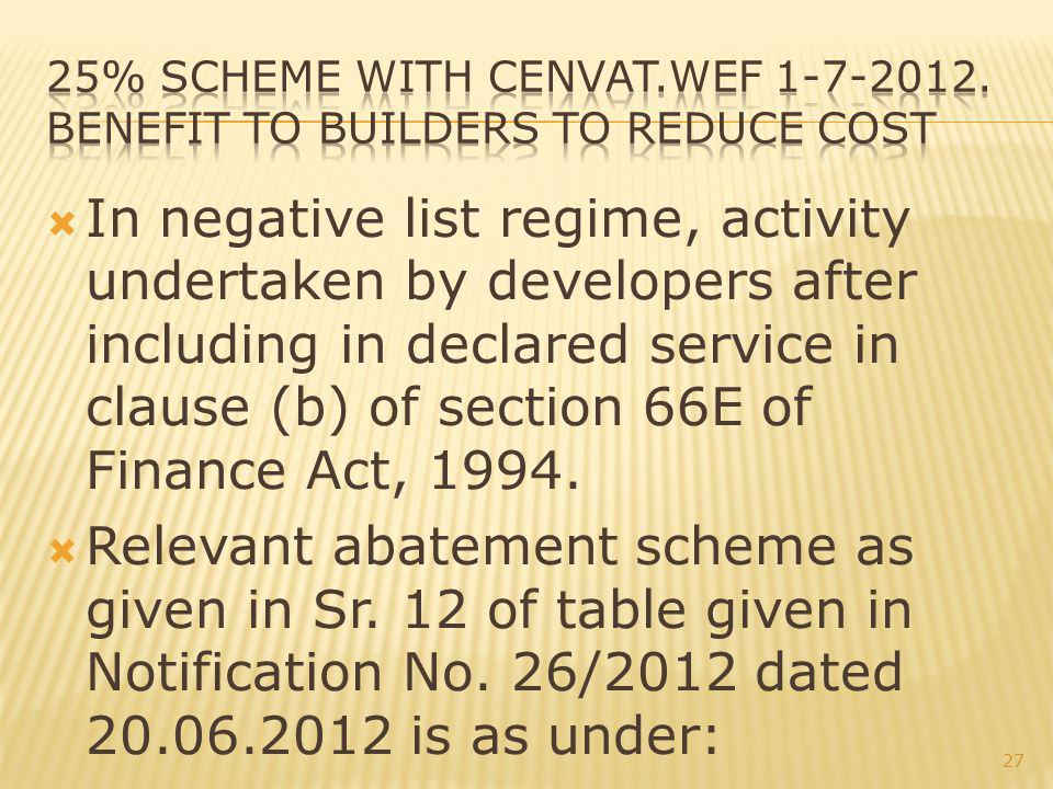 In negative list regime, activity undertaken by developers after including in declared service in clause (b) of section 66E of Finance Act, 1994.