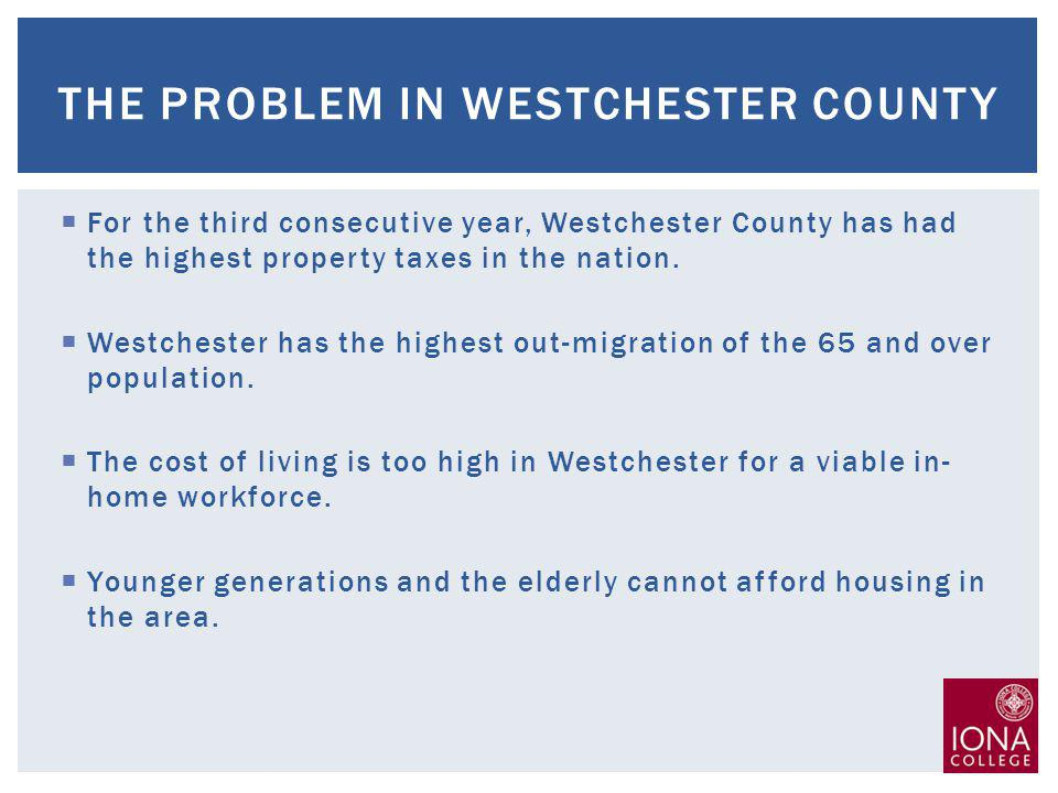 For the third consecutive year, Westchester County has had the highest property taxes in the nation.