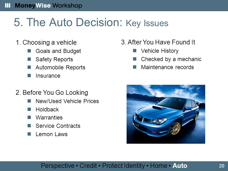 20 5. The Auto Decision: Key Issues 1.