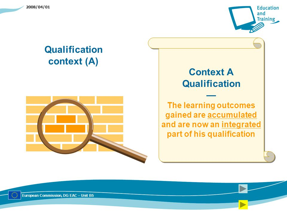 2008/04/01 Context A Qualification The learning outcomes gained are accumulated and are now an integrated part of his qualification Context A Qualification The learning outcomes gained are accumulated and are now an integrated part of his qualification Qualification context (A) European Commission, DG EAC – Unit B5