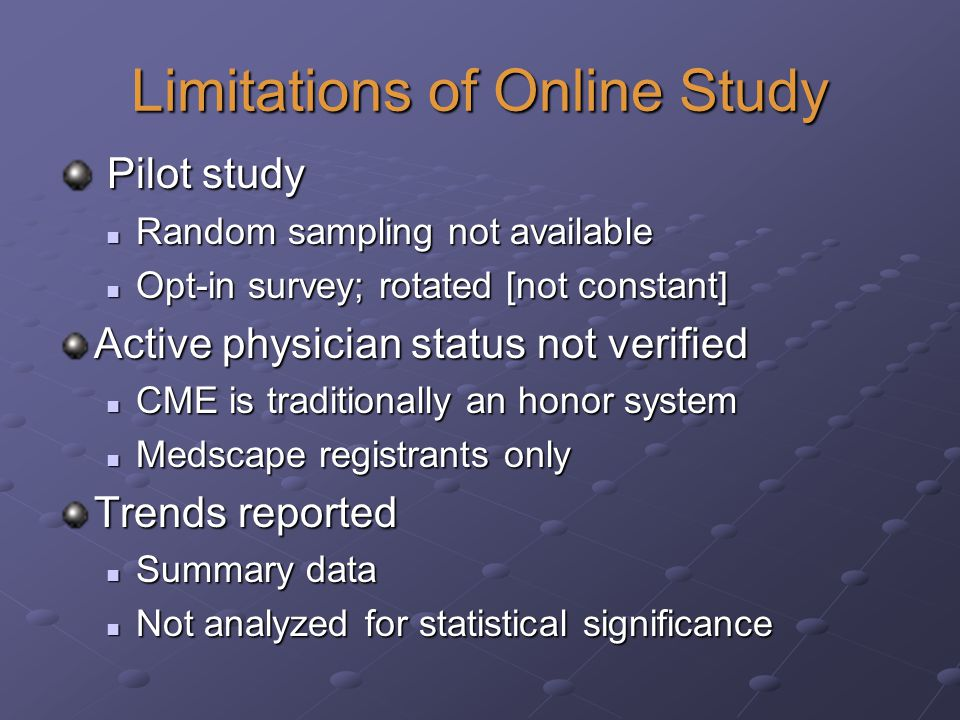 Limitations of Online Study Pilot study Pilot study Random sampling not available Random sampling not available Opt-in survey; rotated [not constant] Opt-in survey; rotated [not constant] Active physician status not verified CME is traditionally an honor system CME is traditionally an honor system Medscape registrants only Medscape registrants only Trends reported Summary data Summary data Not analyzed for statistical significance Not analyzed for statistical significance