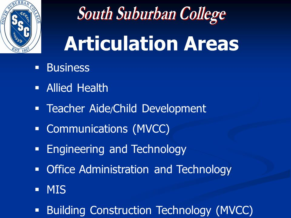Articulation Areas Business Allied Health Teacher Aide / Child Development Communications (MVCC) Engineering and Technology Office Administration and Technology MIS Building Construction Technology (MVCC)