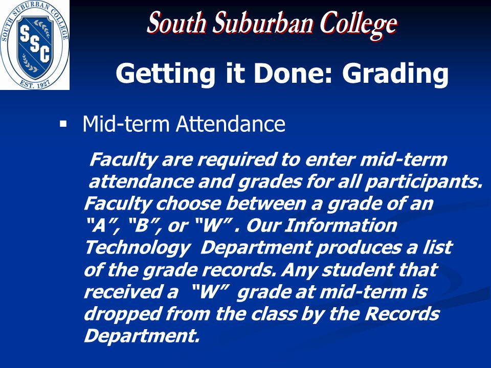 Getting it Done: Grading Mid-term Attendance Faculty are required to enter mid-term attendance and grades for all participants.