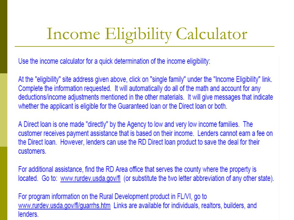 Income Eligibility Calculator