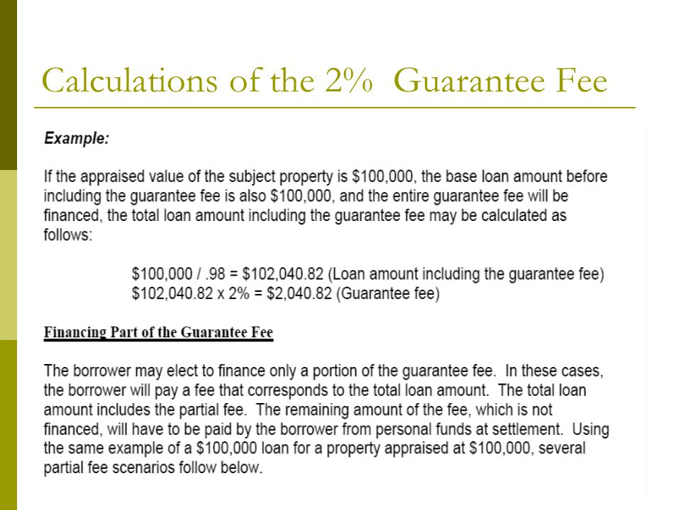 Calculations of the 2% Guarantee Fee