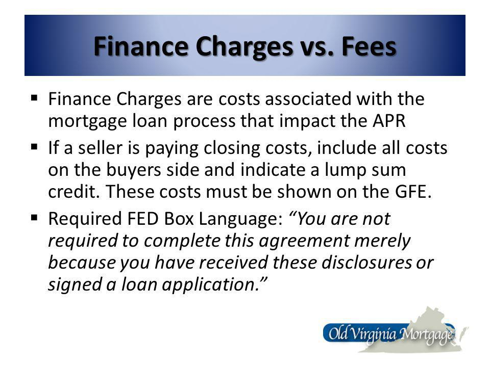 Finance Charges vs.