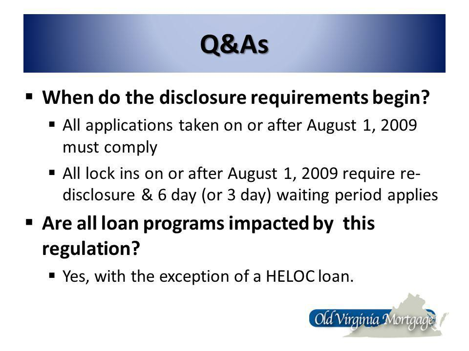 Q&As When do the disclosure requirements begin.