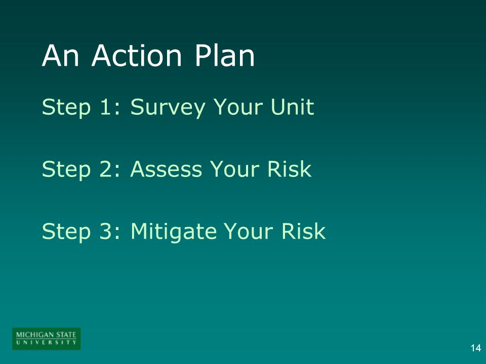 14 An Action Plan Step 1: Survey Your Unit Step 2: Assess Your Risk Step 3: Mitigate Your Risk