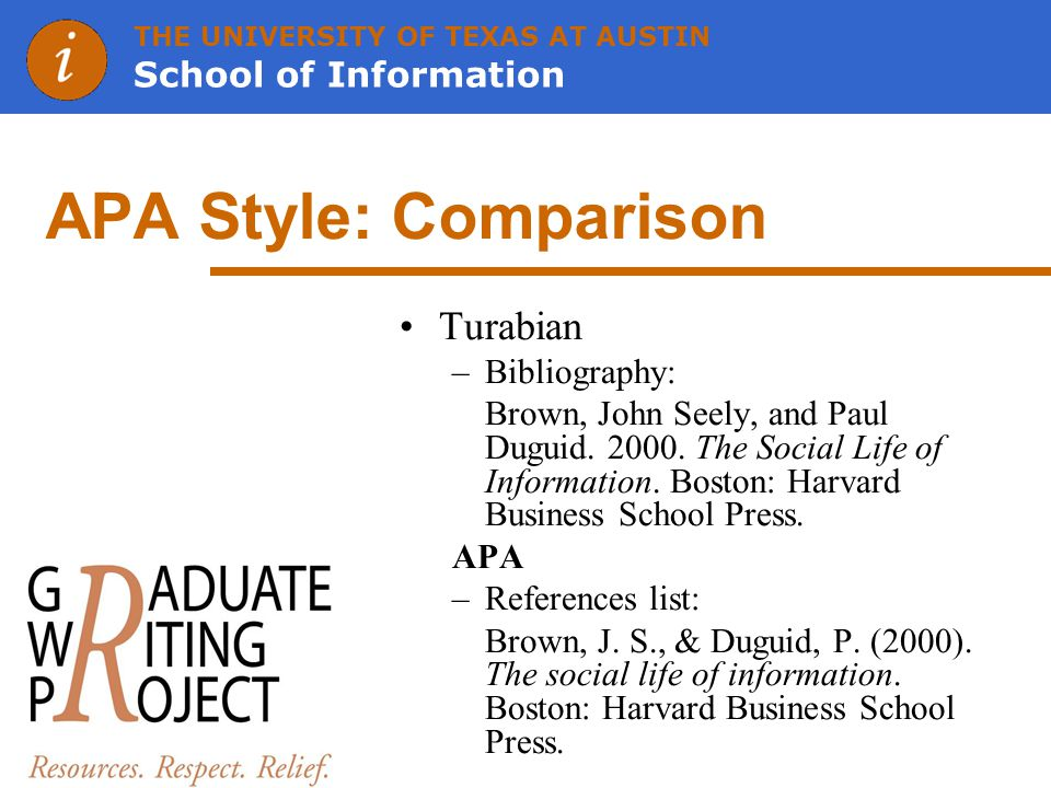 THE UNIVERSITY OF TEXAS AT AUSTIN School of Information APA Style: Comparison Turabian –Bibliography: Brown, John Seely, and Paul Duguid.