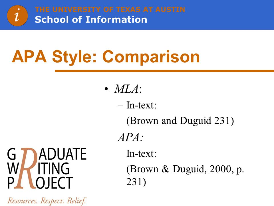 THE UNIVERSITY OF TEXAS AT AUSTIN School of Information APA Style: Comparison MLA: –In-text: (Brown and Duguid 231) APA: In-text: (Brown & Duguid, 2000, p.