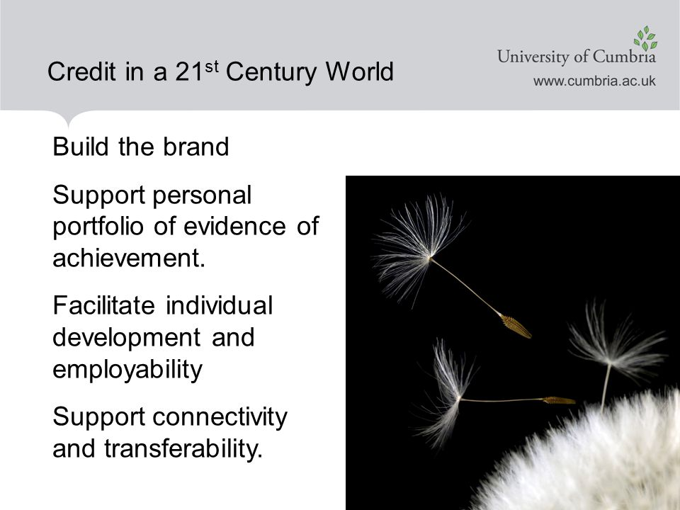 Credit in a 21 st Century World Build the brand Support personal portfolio of evidence of achievement.