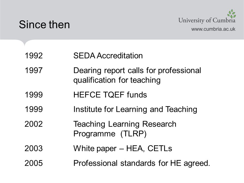 Since then 1992 SEDA Accreditation 1997 Dearing report calls for professional qualification for teaching 1999 HEFCE TQEF funds 1999 Institute for Learning and Teaching 2002 Teaching Learning Research Programme (TLRP) 2003 White paper – HEA, CETLs 2005Professional standards for HE agreed.