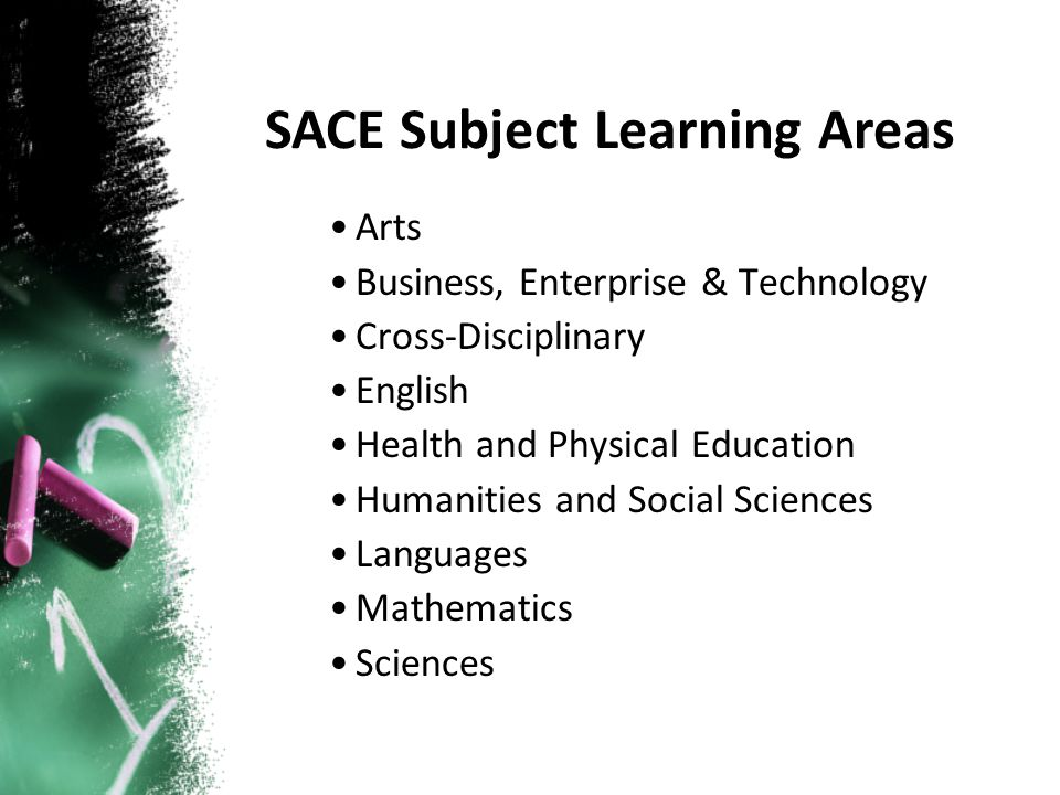 Arts Business, Enterprise & Technology Cross-Disciplinary English Health and Physical Education Humanities and Social Sciences Languages Mathematics Sciences SACE Subject Learning Areas