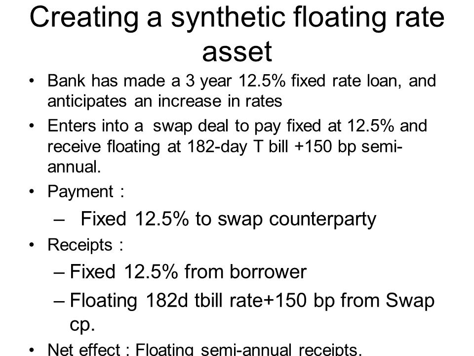 Creating a synthetic floating rate asset Bank has made a 3 year 12.5% fixed rate loan, and anticipates an increase in rates Enters into a swap deal to pay fixed at 12.5% and receive floating at 182-day T bill +150 bp semi- annual.