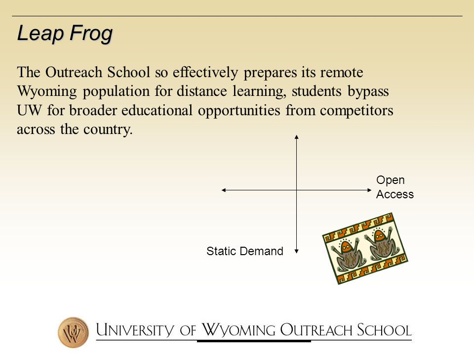 Static Demand Open Access Leap Frog The Outreach School so effectively prepares its remote Wyoming population for distance learning, students bypass UW for broader educational opportunities from competitors across the country.