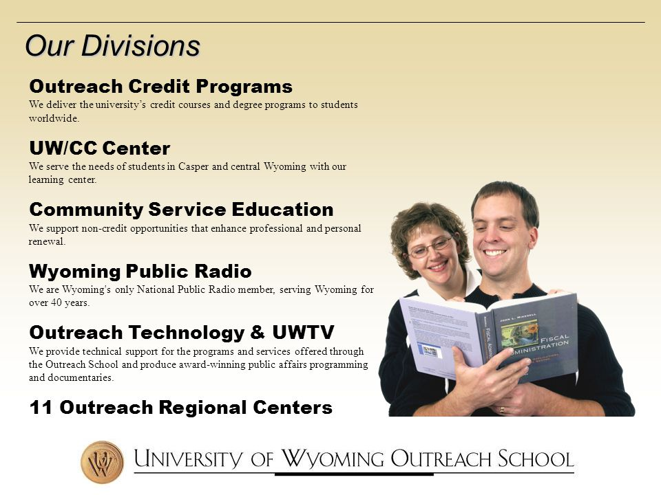 Outreach Credit Programs We deliver the universitys credit courses and degree programs to students worldwide.
