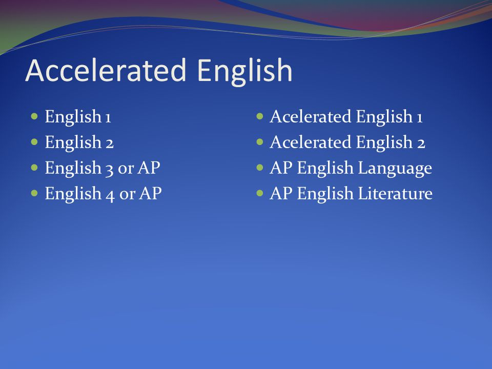 Accelerated English English 1 English 2 English 3 or AP English 4 or AP Acelerated English 1 Acelerated English 2 AP English Language AP English Literature