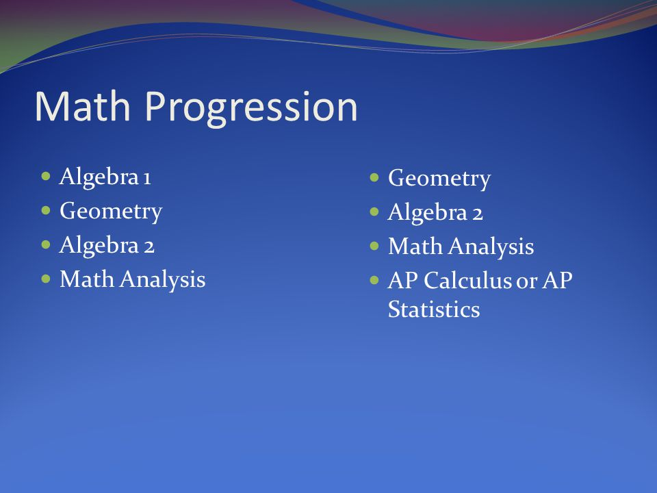 Math Progression Algebra 1 Geometry Algebra 2 Math Analysis Geometry Algebra 2 Math Analysis AP Calculus or AP Statistics