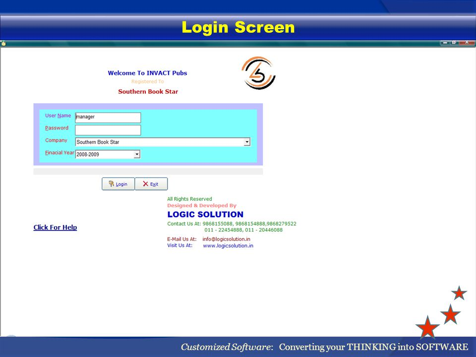 Login Screen Customized Software: Converting your THINKING into SOFTWARE