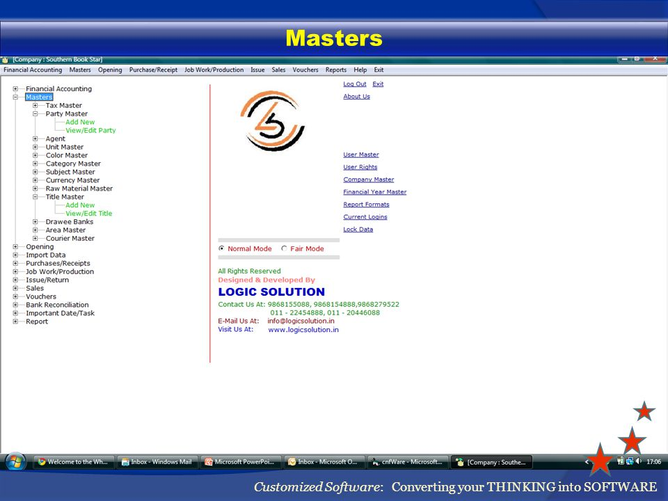 Masters Customized Software: Converting your THINKING into SOFTWARE