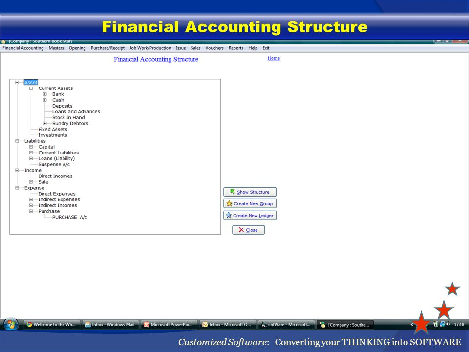 Financial Accounting Structure Customized Software: Converting your THINKING into SOFTWARE