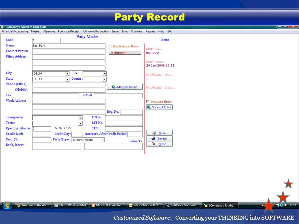 Party Record Customized Software: Converting your THINKING into SOFTWARE