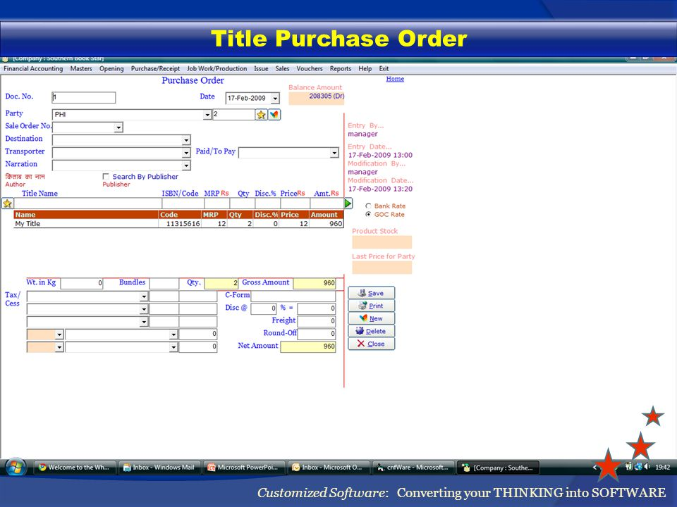Title Purchase Order Customized Software: Converting your THINKING into SOFTWARE
