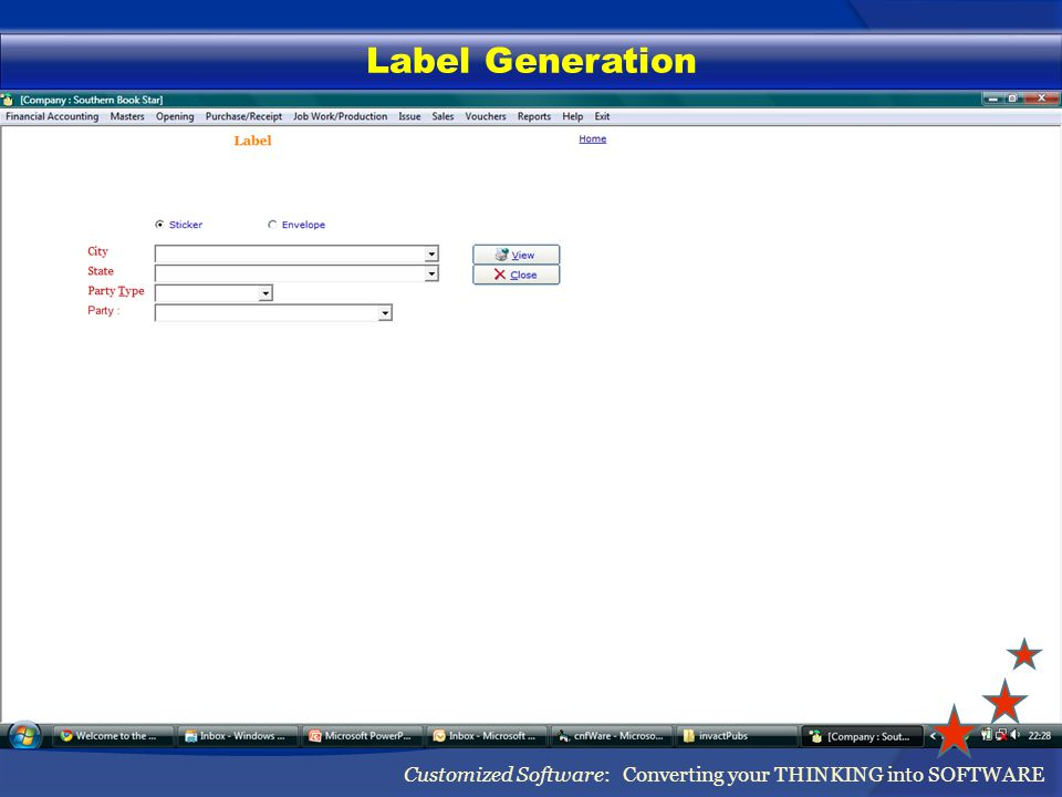 Label Generation Customized Software: Converting your THINKING into SOFTWARE
