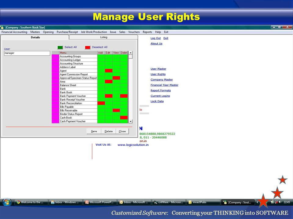 Manage User Rights Customized Software: Converting your THINKING into SOFTWARE