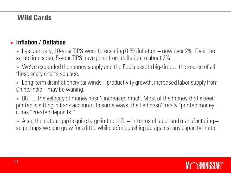 17 Wild Cards × Inflation / Deflation × Last January, 10-year TIPS were forecasting 0.5% inflation – now over 2%.