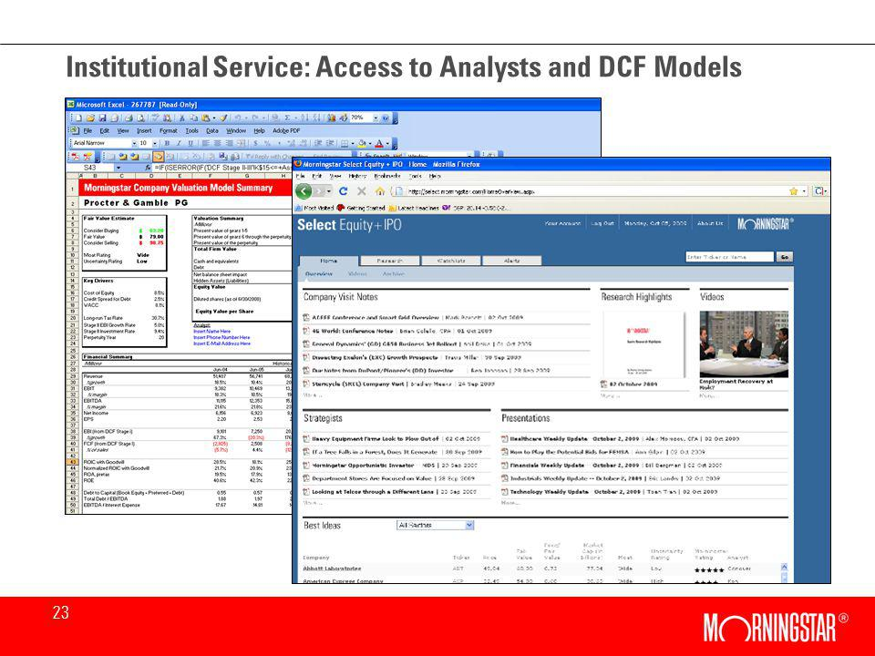 23 Institutional Service: Access to Analysts and DCF Models