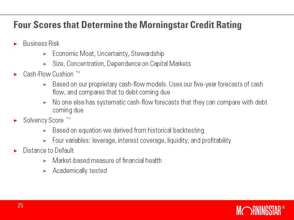 25 Four Scores that Determine the Morningstar Credit Rating × Business Risk × Economic Moat, Uncertainty, Stewardship × Size, Concentration, Dependence on Capital Markets × Cash-Flow Cushion × Based on our proprietary cash-flow models.