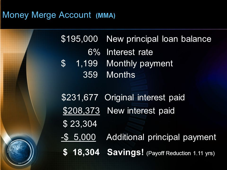 Money Merge Account (MMA) $195,000New principal loan balance 6%Interest rate $ 1,199Monthly payment 359Months $231,677Original interest paid $208,373 New interest paid $ 23,304 -$ 5,000Additional principal payment $ 18,304 Savings.