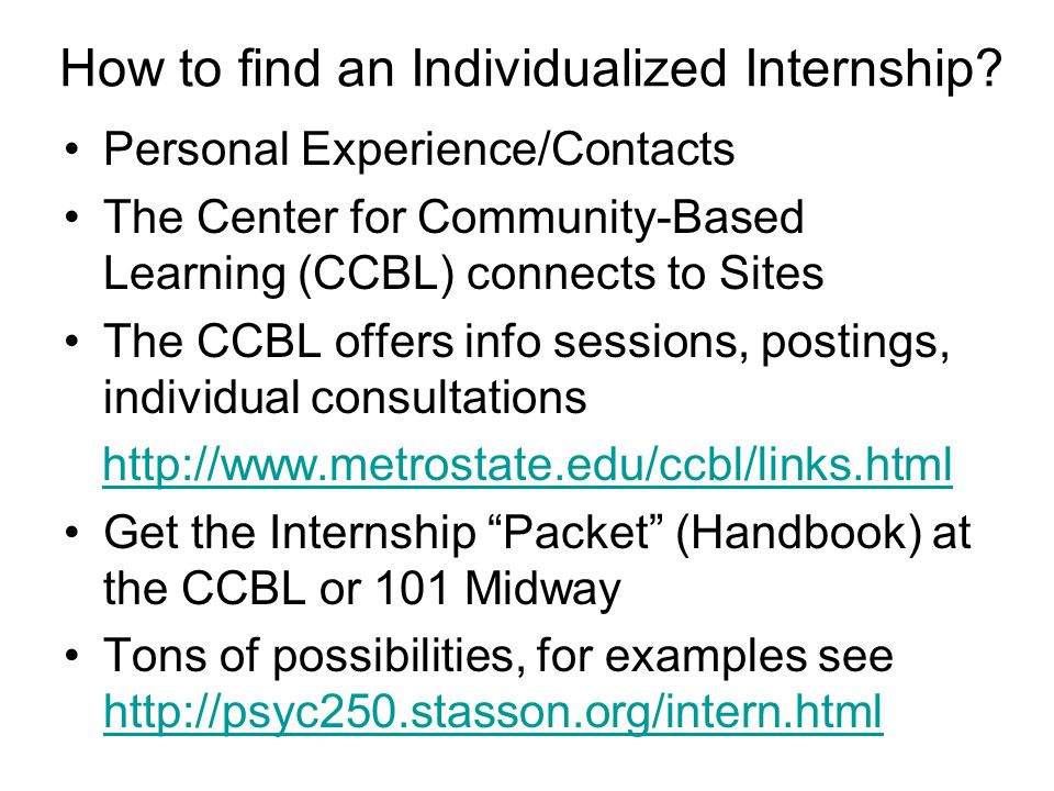 How to find an Individualized Internship.