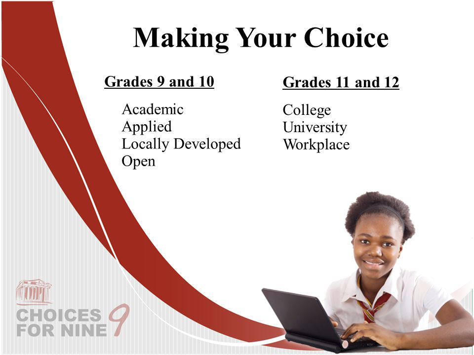 Grades 9 and 10 Academic Applied Locally Developed Open Making Your Choice Grades 11 and 12 College University Workplace