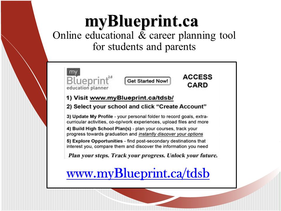 Online educational & career planning tool myBlueprint.ca www.myBlueprint.ca/tdsb for students and parents