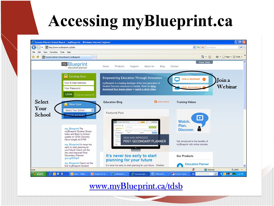 Accessing myBlueprint.ca Select Your School Join a Webinar www.myBlueprint.ca/tdsb