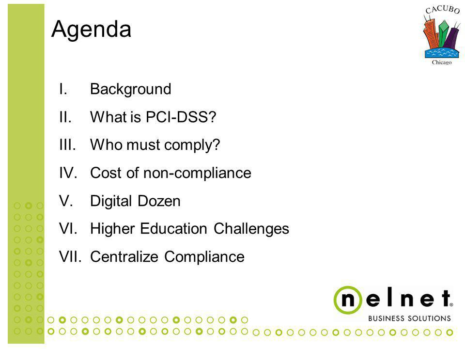 I.Background II.What is PCI-DSS. III.Who must comply.