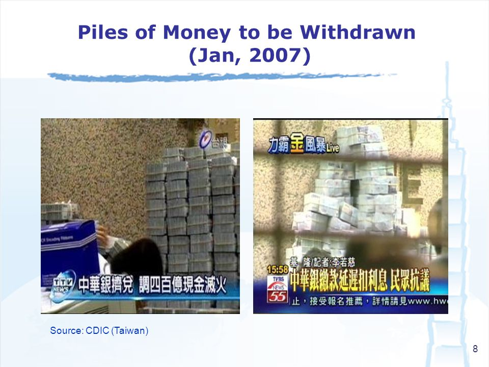 8 Source: CDIC (Taiwan) Piles of Money to be Withdrawn (Jan, 2007)