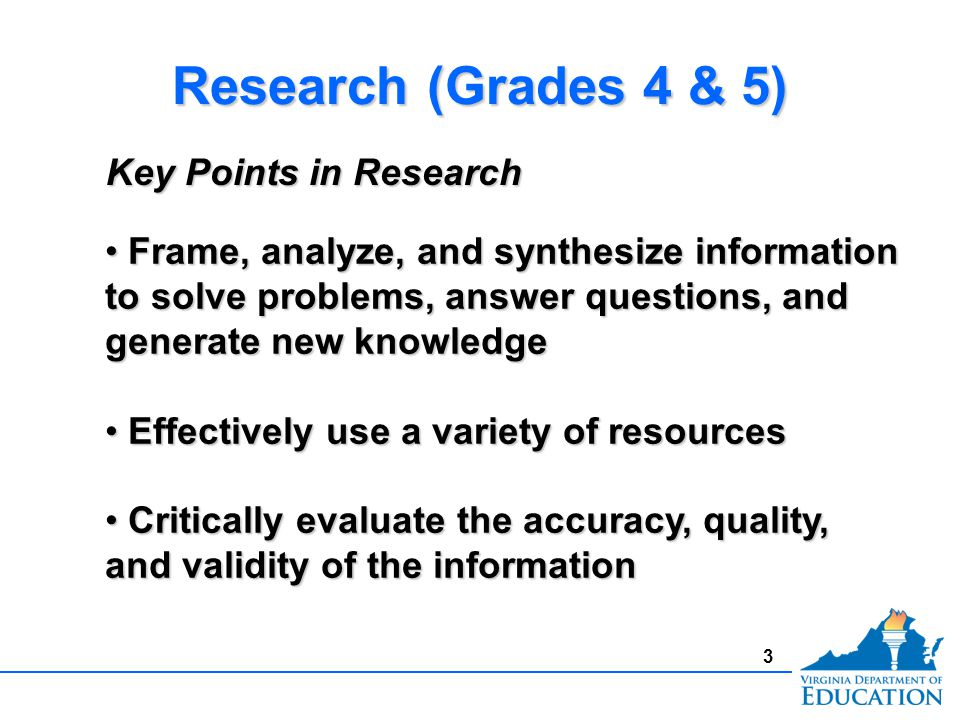3 Research (Grades 4 & 5) Frame, analyze, and synthesize information to solve problems, answer questions, and generate new knowledge Frame, analyze, and synthesize information to solve problems, answer questions, and generate new knowledge Effectively use a variety of resources Effectively use a variety of resources Critically evaluate the accuracy, quality, and validity of the information Critically evaluate the accuracy, quality, and validity of the information Key Points in Research