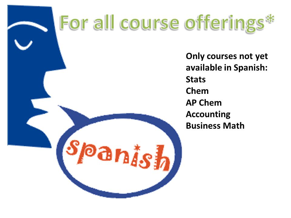 Only courses not yet available in Spanish: Stats Chem AP Chem Accounting Business Math