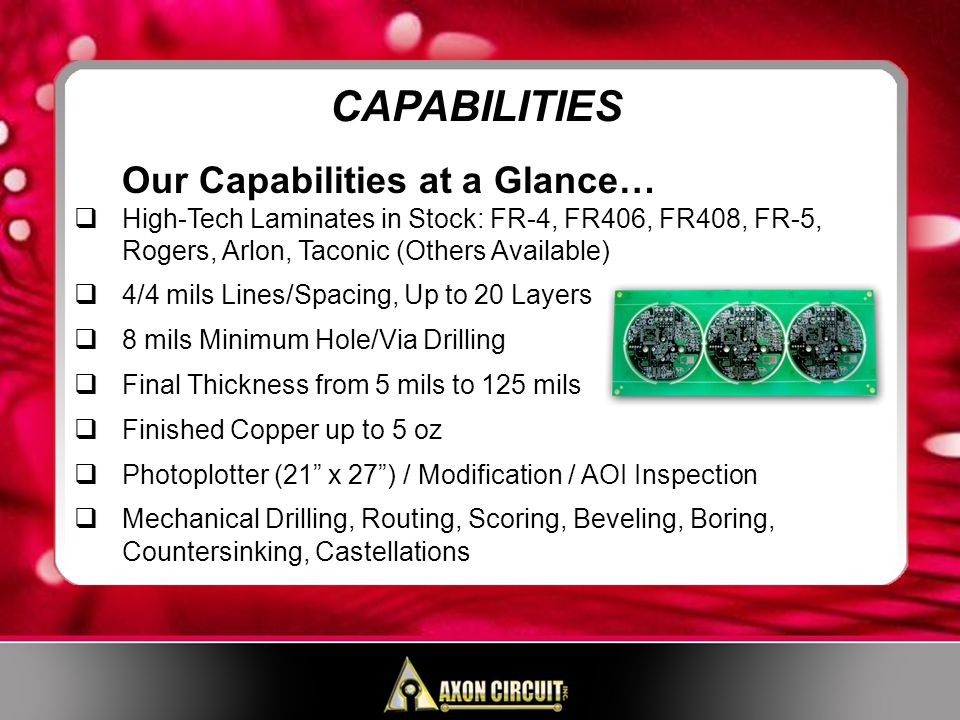 Our Capabilities at a Glance… High-Tech Laminates in Stock: FR-4, FR406, FR408, FR-5, Rogers, Arlon, Taconic (Others Available) 4/4 mils Lines/Spacing, Up to 20 Layers 8 mils Minimum Hole/Via Drilling Final Thickness from 5 mils to 125 mils Finished Copper up to 5 oz Photoplotter (21 x 27) / Modification / AOI Inspection Mechanical Drilling, Routing, Scoring, Beveling, Boring, Countersinking, Castellations CAPABILITIES