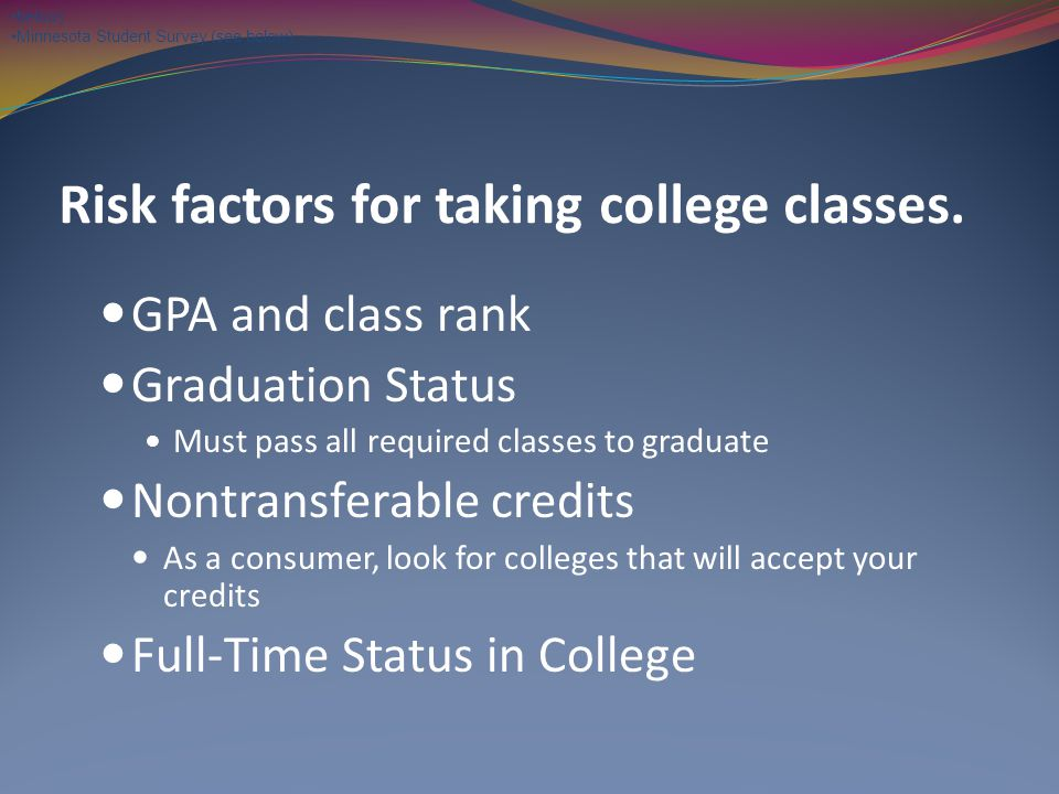Risk factors for taking college classes.