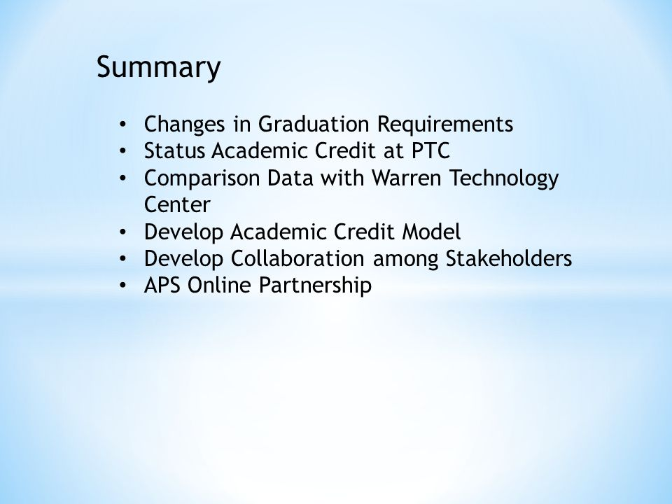 Summary Changes in Graduation Requirements Status Academic Credit at PTC Comparison Data with Warren Technology Center Develop Academic Credit Model Develop Collaboration among Stakeholders APS Online Partnership