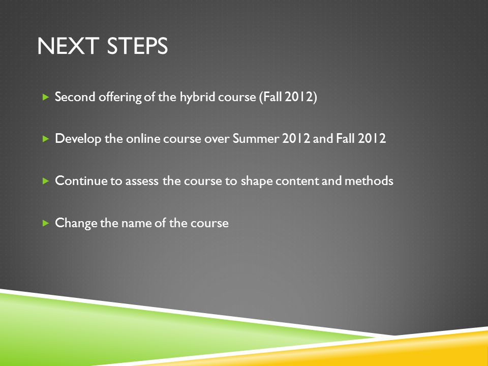 NEXT STEPS Second offering of the hybrid course (Fall 2012) Develop the online course over Summer 2012 and Fall 2012 Continue to assess the course to shape content and methods Change the name of the course