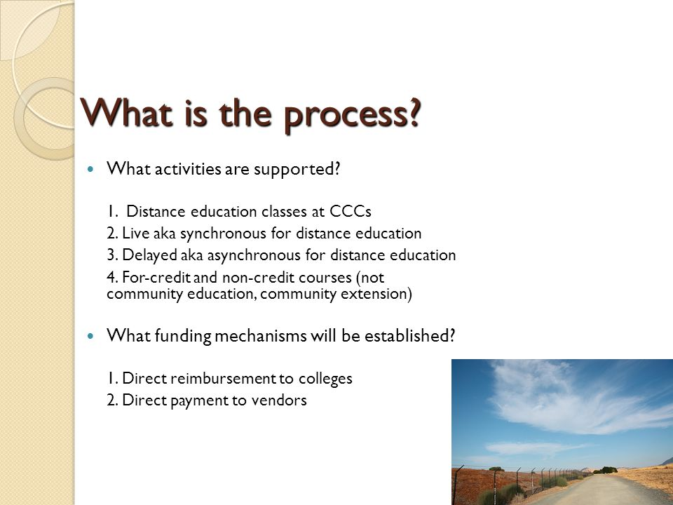 What is the process. What activities are supported.