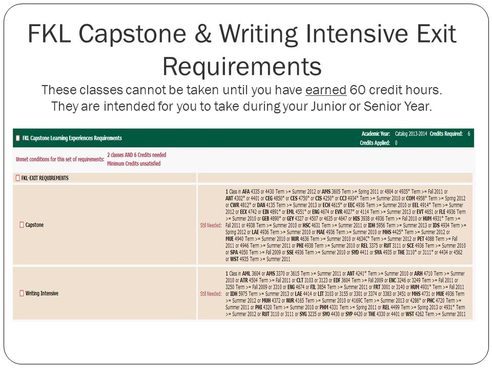 FKL Capstone & Writing Intensive Exit Requirements These classes cannot be taken until you have earned 60 credit hours.