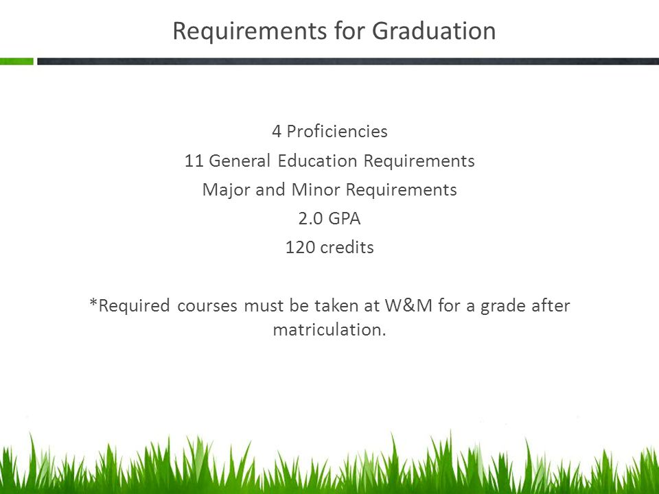 Requirements for Graduation 4 Proficiencies 11 General Education Requirements Major and Minor Requirements 2.0 GPA 120 credits *Required courses must be taken at W&M for a grade after matriculation.