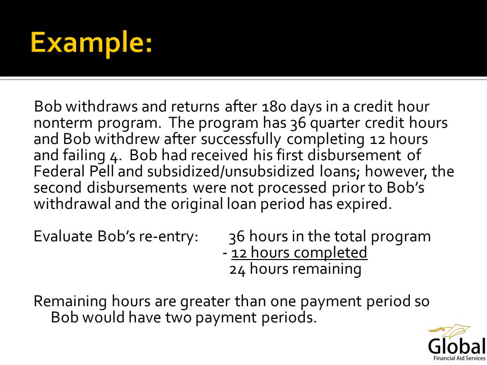 Bob withdraws and returns after 180 days in a credit hour nonterm program.