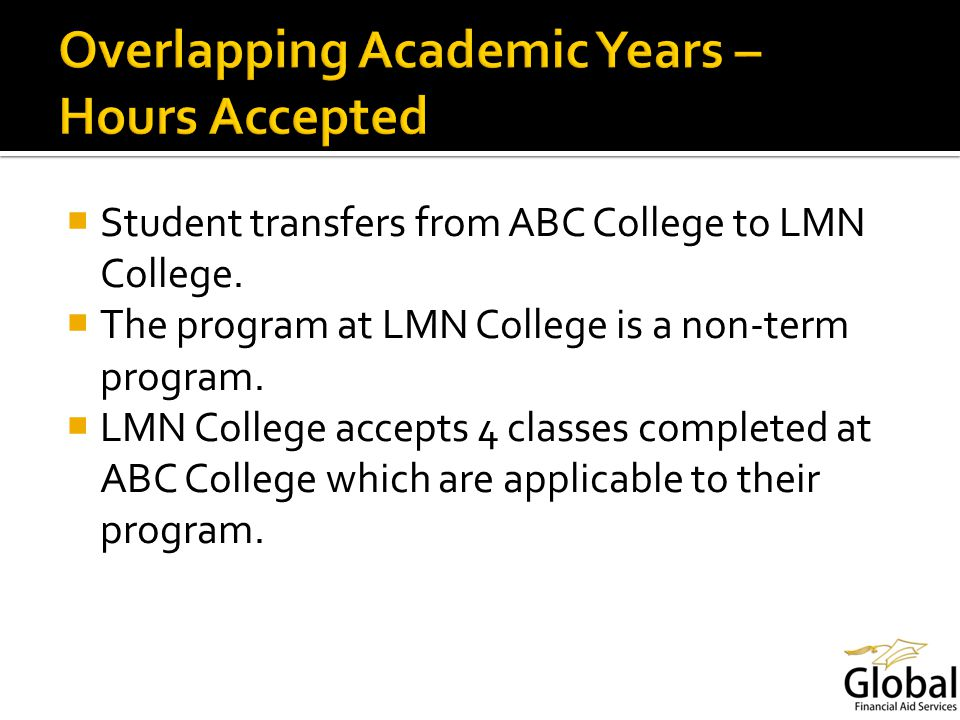 Student transfers from ABC College to LMN College.